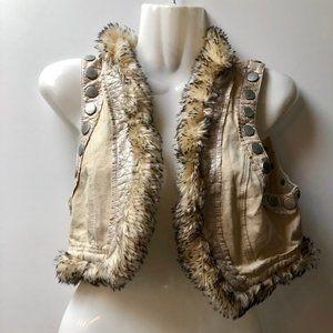 Faux jean cropped vest